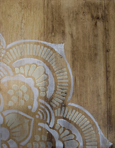 Wood Plank with Mandala Stacey Tranter Artisan Wallpaper